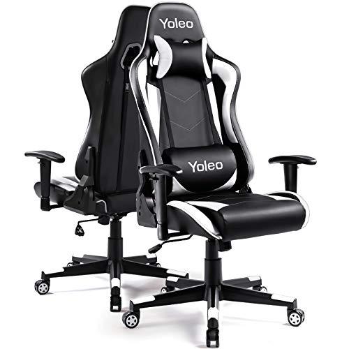 Gaming Stuhl YOLEO Bürostuhl Gamer Ergonomischer Stuhl Einstellbare Armlehne Einteiliger Stahlrahmen Einstellbarer Neigungswinkel Gaming Chair Weiß