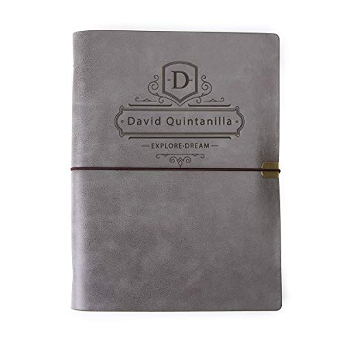 Personalized Leatherette Journal Monogrammed Wide Ruled Soft Cover Writing Notebook Refillable Loose-Leaf 6-Ring Binders Banded Custom Personal Diary A5-Brown