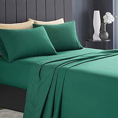 KKJIAF 4 Piece Bed Sheet Set, Microfiber Bed Sheet Queen Size, 1800 Thread Count Microfiber Soft & Breathable Bedding Sheet Sets, Deep Pocket Fitted Sheet, Flat Sheet and 2 Pillowcases - Dark Green