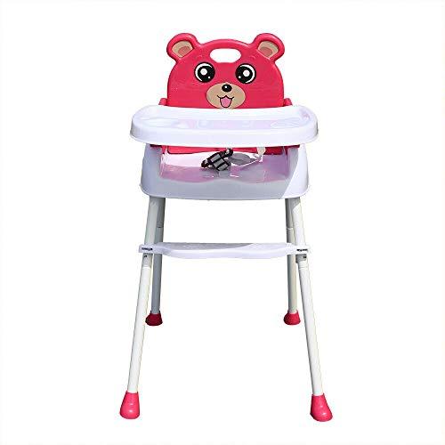 Hochstuhl baby Klappbar Kinderhochstuhl Essstuhl , Wangkangyi baby Fütterung Hochstuhl 4 in 1 Klapp rutschfeste tragbare Kinderstuhl mit Sitzgurt und Tablett für 6 Monate bis 3 Jahre (rot)