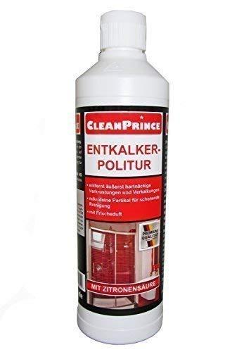 Entkalker-Politur 500ML cleanprince 0,5 Litros Entkalkerpolitur Limpieza - Pulimiento Pasta Pulido de Cristal Polaco Ducha Baño Descalcificador sin Cal Limpiar Producto Cocina Manchas Óxido Wc