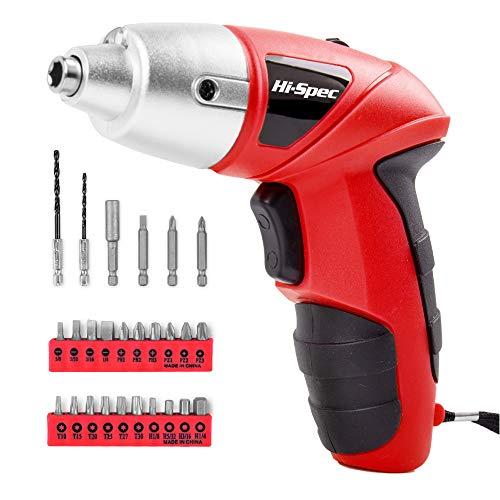 HI-SPEC Akkuschrauber, roter Schrauber mit wiederaufladbarem 4,8-V-Akku und LED-Licht. 26-teiliges Zubehör – Für jeden Klein oder Groß