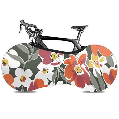 San Diego California Cubierta de Bicicleta Portátil para Interior Anti Polvo Alta Elástica Cubierta de Rueda Cubierta de Bicicleta Protector Rip Stop Neumático Carretera MTB Bolsa de Almacenamiento, Flor2, talla única