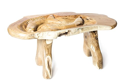 Windalf Dynamic24 Flipp Table basse avec plateau en verre fait main en bois de racine 65 cm
