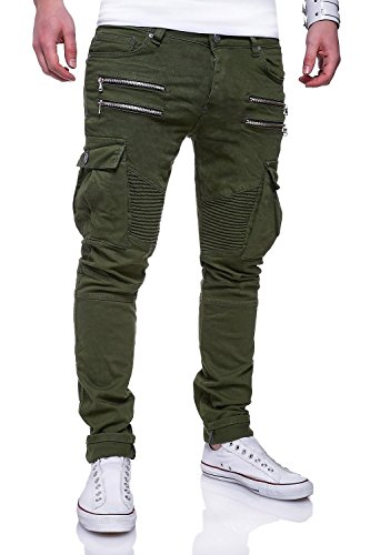 MT Styles Zipper Biker Jeans Slim Fit Hose RJ-3196 [Khaki, W29/L32]