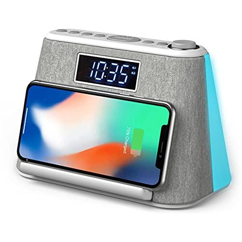 Radio despertador digital con cargador inalámbrico, altavoz Bluetooth, luz nocturna, pantalla LED regulable y ruido blanco, despertador con estación de carga, despertador digital, radio desper