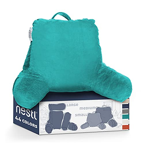 Nestl Shredded Memory Foam Medium Husband Reading Pillow, Backrest Pillows for Bed with Arms for Kids Teens & Adults, Sitting...