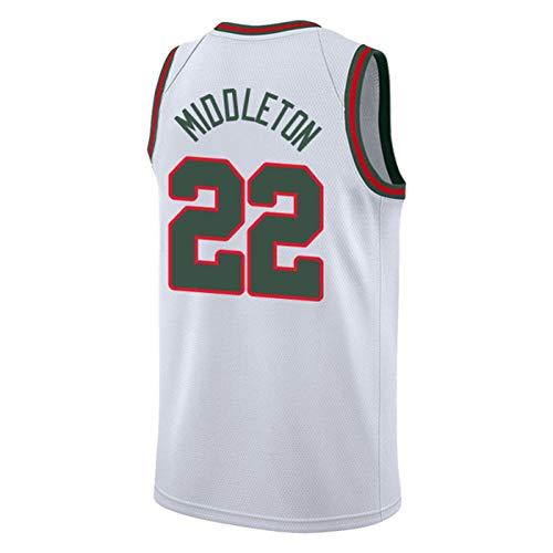 XZM Jungen Basketball Uniform Anzug, Fans unterstützen Trikot, Milwaukee Bucks Nr. 34 griechische Monster Basketball Uniform, Herren Basketball Weste Hemd Basketball Uniform-Vintagewhite-2XL