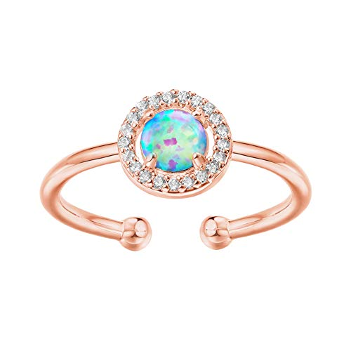 PAVOI 14K Gold Plated Rose Gold Ring Opal ...