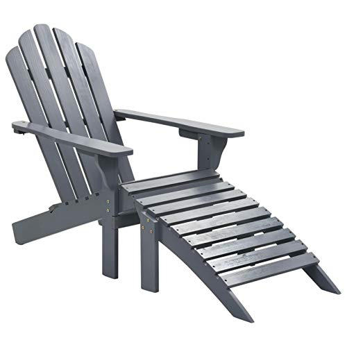 Festnight Garden Adirondack Chair with Footrest Wood Garden Reclining Lounger Chair for Balcony Patio Backyard Poolside Indoor and Outdoor Furniture 27.8 x 37.8 x 36.2 Inches (W x D x H) (Gray)