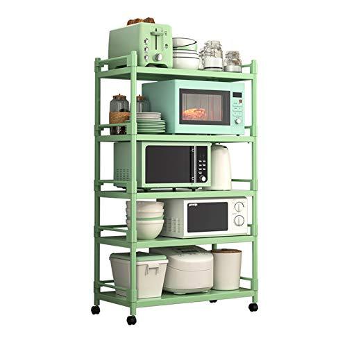 shelf RENJUN- Kitchen Storage Shelves for Closet Organization Standing With 360° Mobile Casters Bearing 50kg/layer Green(Size:140x100x40cm)