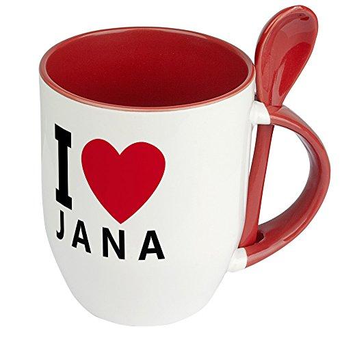 Namenstasse Jana - Löffel-Tasse mit Namens-Motiv