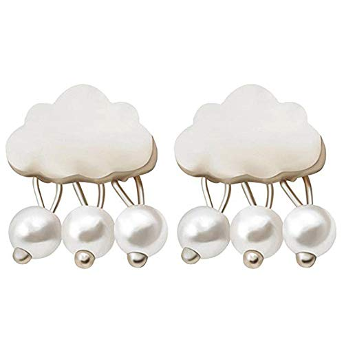 Ellepigy Pendientes de gota de nube de lluvia con cuentas colgantes, perla de plata