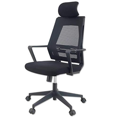 KLIM K300 Office Chair - Silla de Oficina ergonómica con reposacabezas + Cojín y Tela Suaves + hasta 110 kg + Silla de Escritorio con Ruedas para Oficina y casa + 5 años de garantía + Nueva 2021