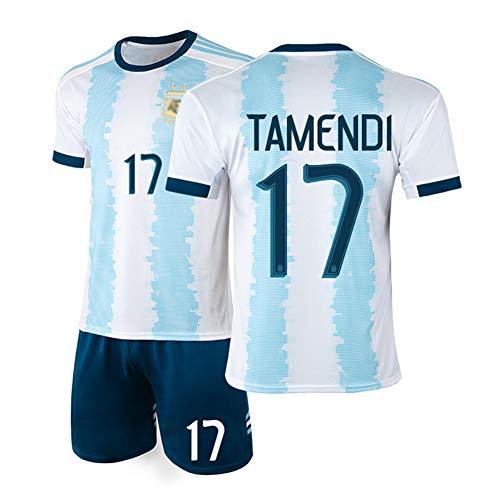 DDSC # 10 Messi Fußballuniform # 9 Higuaín Trikot Set, 11 Di María Nationalmannschaft Uniform Kurzarm Shorts Trainingsanzug für Männer Kind Geschenk-Top Hemd White(#17)-22