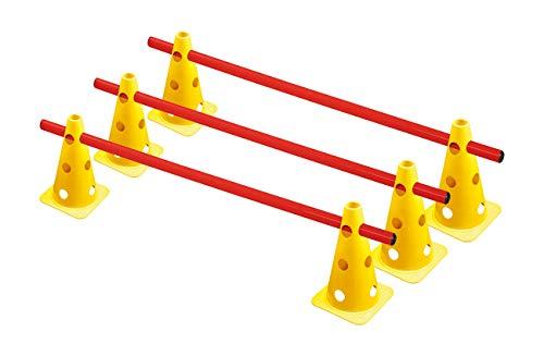 RHINOS sports Steckhürdenset 3er | 6 gelbe Kegel: 22,5cm | 3 rote Stangen: 1m