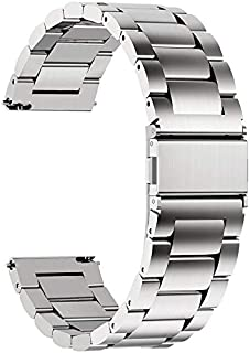 Fullmosa 18mm 20mm 22mm 24mm Watch Band, Watch Band Compatible Samsung Gear S3 Classic/Frontier, 22mm Silver