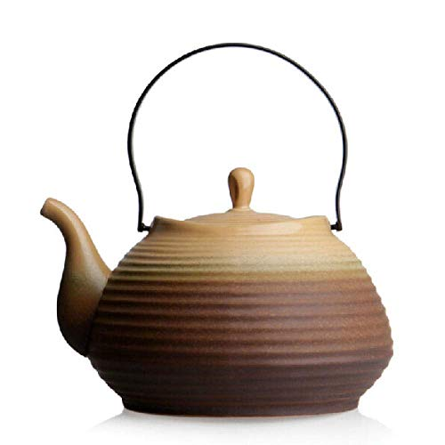 JHSHENGSHI Colador de Tetera Jian Kiln Tea Tetera de cerámica Japonesa roscada Olla de cerámica Antigua Hervidor inclinable de Hierro