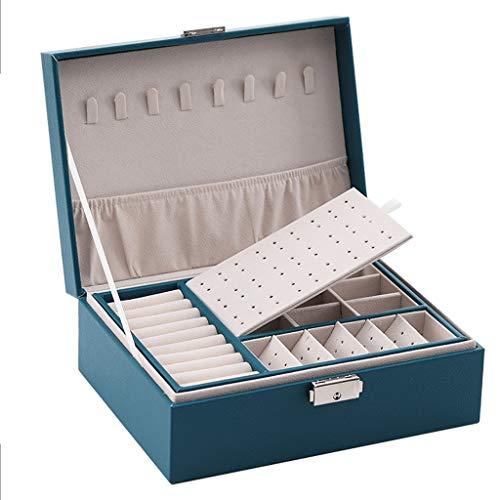 Joyero Caja De Joyería para Mujer Caja De Joyería De Doble Capa con Cerradura Organizador De Exhibición De Joyería Apilable Soporte Regalo de joyería (Color : Blue)
