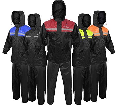 Alpha Cycle Gear Rain Suit for Men & Women Jackets Pant Gear Reflective Rainsuit Waterproof (RED,...