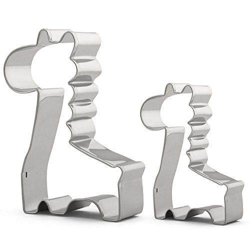 Giraffe Cookie Cutter Set for Kids - 2 PCS Various Size - Large/3.7 x 2.4 inches, Small Size/2.4 x 1.8 inches - Stainless Steel