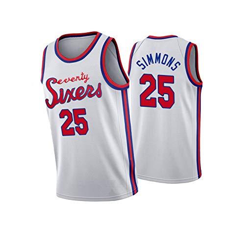 Basketball Jersey 25# 76ers Simmons Jersey, Transpirable, cómodo, Secado rápido, Entrenamiento Diario al Aire Libre Ropa Deportiva White-XXL