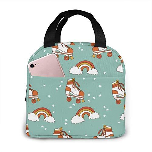 IUBBKI Rollschuh Retro Rainbow Lunch Bag Wiederverwendbare Lunchbox Lunch Cooler Tote