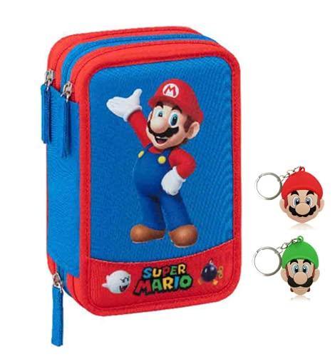 Estuche escolar Super Mario Luigi de 3 pisos con cremallera completo 2020 + llavero silbato + regalo bolígrafo brillante + marcapáginas de regalo