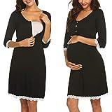 ekouaer camicia da notte premaman allattamento pigiama maternità vestaglia gravidanza bottoni pizzo (nero,l)