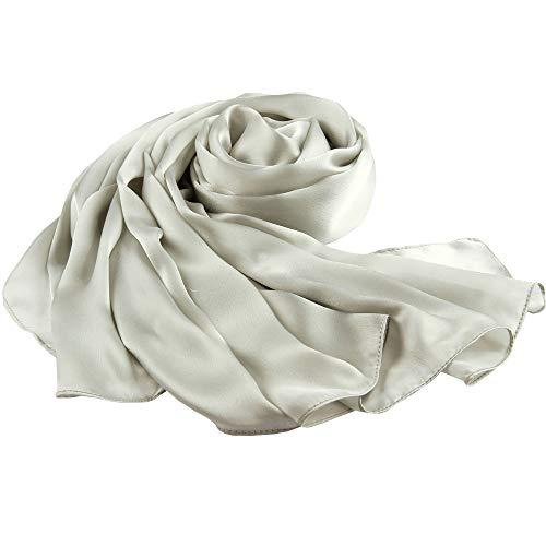 LDCSA Elegante Donna Foulard di Raso Sciarpa Sensazione di seta Grande Scialle Regalo Scarf XXL 180 X 90cm(Colore solido-grigio argento)