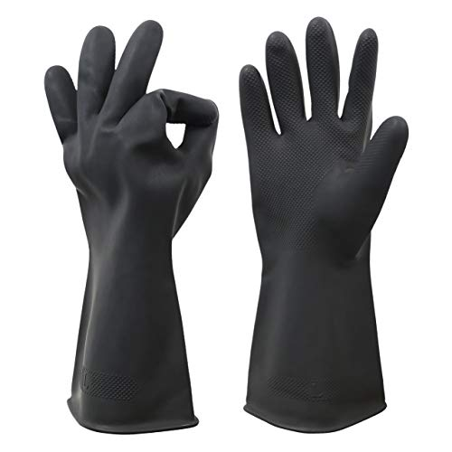 HHPROTECT Chemical Resistant Gloves,Waterproof Reusable Dishwashing Household Cleaning Protective Safety Work Heavy Duty Industrial Rubber Gloves Black 1 Pair Size Large