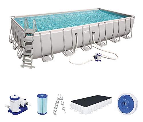 Bestway 732x366x132 cm, mit und Zubehör Power Steel Rectangular Pool 732 x 366 x 132 cm, Stahlrahmenpool-Set con Filterpumpe y Accesorios, Gris