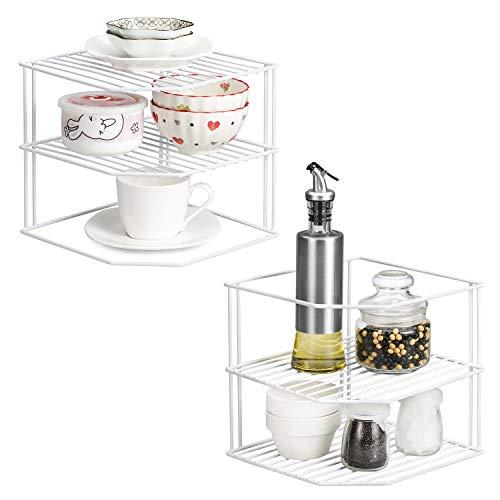 Estante para platos Qiwode, organizador de almacenamiento de placa de estante de esquina de 3 niveles para armario de cocina, mostrador (paquete de 2)