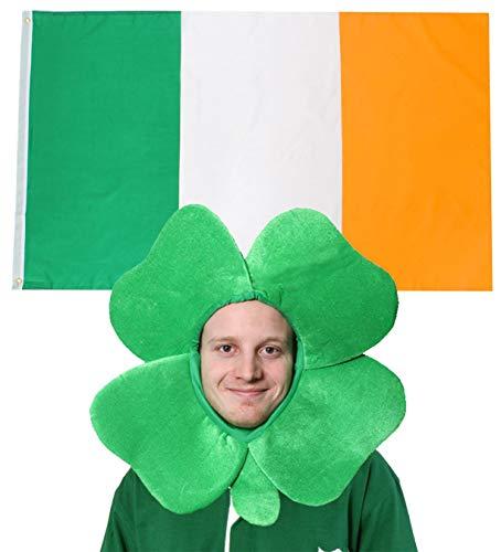 I LOVE FANCY DRESS LTD Irland Fahne Flagge UND GRÜNER Kleeblatt Filz Hut Dekoration Fussball Sport LÄNDER ABMESSUNGEN VON 152cmX91cm