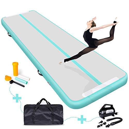 Rolimate Aufblasbare Gymnastik Tumbling 2/3/4/5/6/8/10/12M,Trannings mit 600W Elektrische Luftpumpe,20CM Dicke für Gymnastik, Tumbling für Zuhause,Outdoor,Yoga Usw