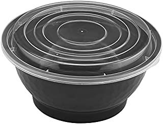 TIYA Food Takeout Bowls - Black Plastic Storage To-Go Containers - Reusable Microwavable Dishwasher Safe Restaurant Bowls...