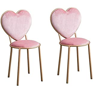 XUEPING Iron bar stool/chair Home kitchen Restaurant chairs Pink peach shape Cosmetic stool Bar stool/chair Four seasons single/double Counter Chair (Color  Two):Hitspoker