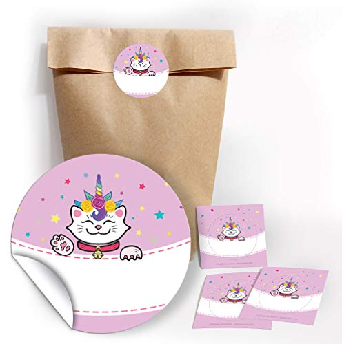 12 bolsas de papel de estraza con 12 pegatinas para regalos para invitados en cumpleaños infantiles 'Gato de unicornio', bodas, cumpleaños, fiestas infantiles, bolsas de papel para envolver regalos