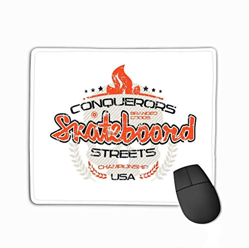 Mouse Pad Skateboard Emblem Shabby Texture Graphic Design Color Print White Background Rectangle Rubber Mousepad 11.81 X 9.84 Inch