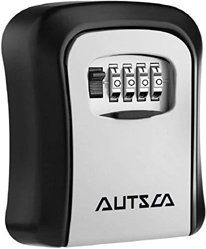 AUTSCA Schlüsseltresor Schlüsselsafe Mit 4-stelligem Zahlencode,Schlüsselbox mit Zahlenkombination,wasserdicht und rostfrei, Key Safe, Key Lock Box zur Wandmontage