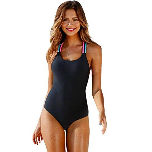 Kehen Women One Piece Bikini Swimwear Push Up Bathing Suit Sexy Backless Beachwear Tankini Siwmsuit for Ladies Girl (Black, S (30A/30B/32AA/32A/32B))