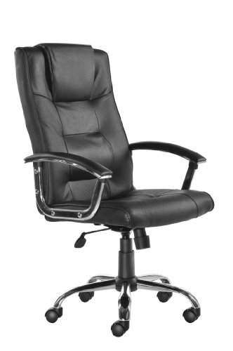Blue Box Somerset Leather Faced Executive Office Chair With Pronounced Headrest And Lumbar Support - H1100-1190 X W630 X D720 - Black