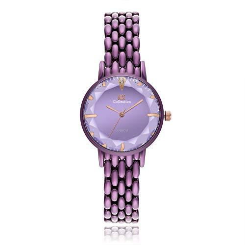 HBR Relojes de pulsera para mujer con espejo de rombo y cristal para mujer, reloj de pulsera con detalles de cristal, creativo, ultrafino, elegante, para mujer (color: A)