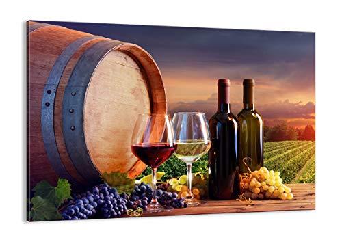 ARTTOR Cuadro sobre Lienzo - Impresión de Imagen - Vino viña Verano - 100x70cm - Imagen Impresión - Cuadros Decoracion - Impresión en Lienzo - Cuadros Modernos - Lienzo Decorativo - AA100x70-4125