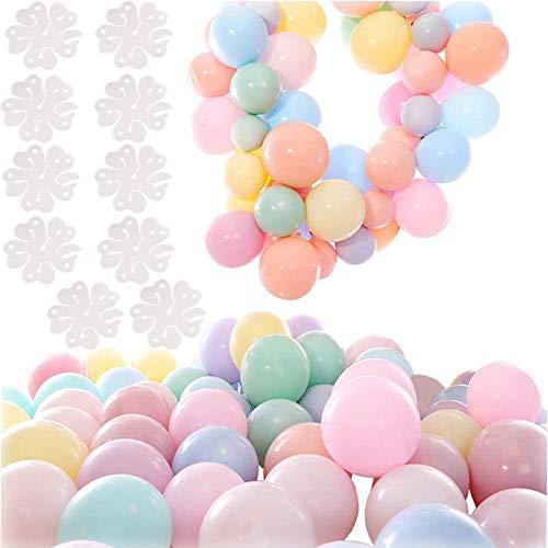 100 Pcs Macaron Colores Látex Balloons 10 Pulgada Redondo Globos Pastel,para la Fiesta de cumpleaños Decoración Baby Shower Suministros Ceremonia de Boda Globo, Graduaciones, Fiestas