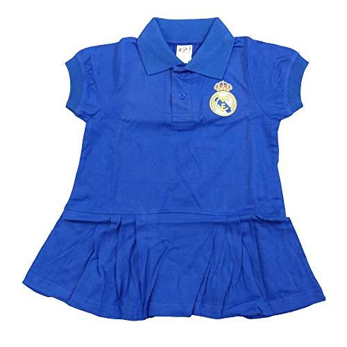 Vestido Real Madrid - Niña - Azul Marino - Producto Bajo Licencia - Personalizable Nombre (18 Meses)