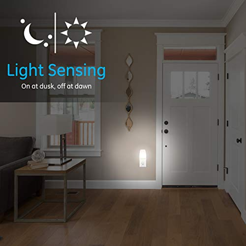 GE Soft White LED Night Light, 2 Pack, Dusk to Dawn, 3000K, UL-Listed, Ideal for Kitchen, Home Office, Bedroom, Nursery, Bathroom, 30966, 2