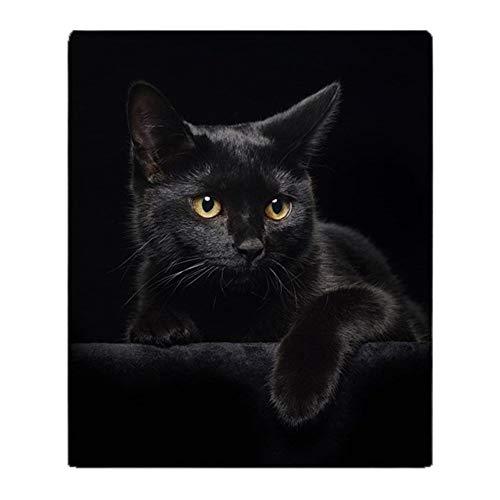 YISUMEI Decke 125x150 cm Kuscheldecken Sanft Flanell Weich Fleecedecke Bettüberwurf Schwarze Katze