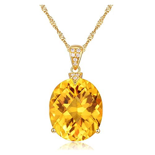 SFQRYP 2021 Natural Citrine Charm Jewelry Crystal Gold Color Chain Gemstone Pendant Necklace Wedding Jewelry For Women Girls Gift (Gem Color : Necklace)