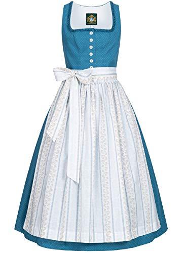 Hammerschmid Damen Trachten-Mode Langes Dirndl Chiemsee in Blau traditionell, Größe:38, Farbe:Blau